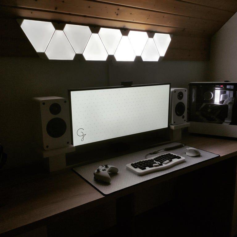 white and black themed desk setup